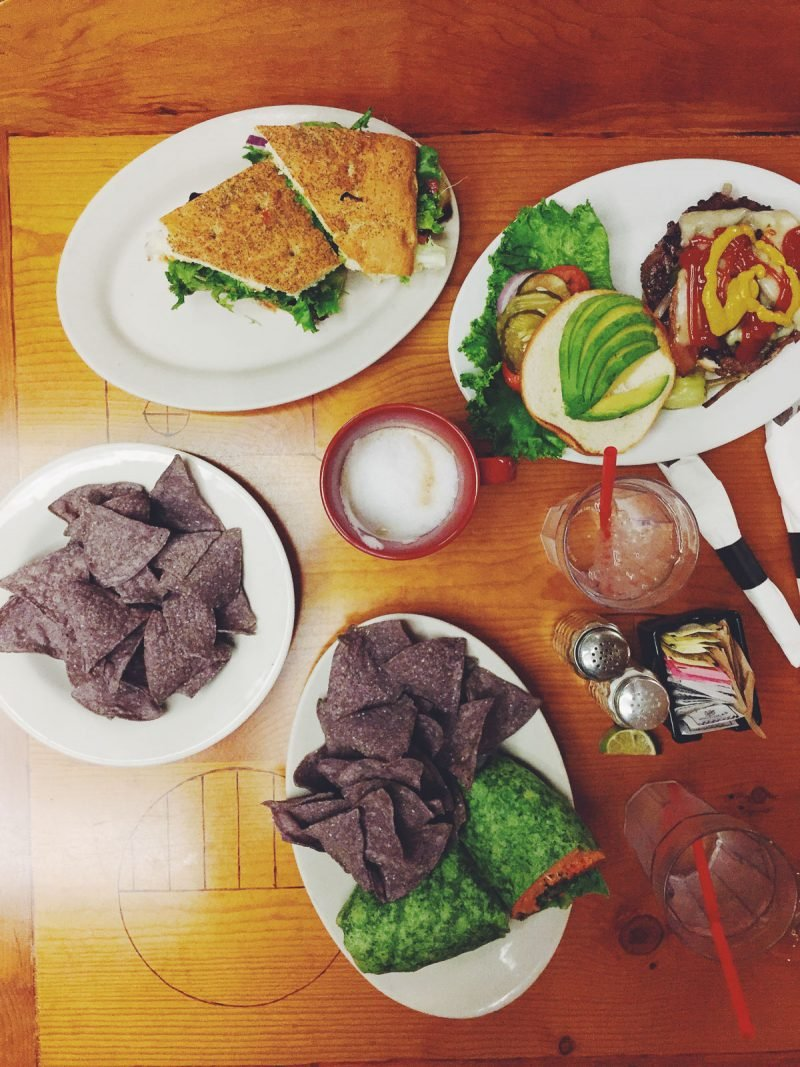 spread of food on table at Peace Tree Cafe in Moab, Utah