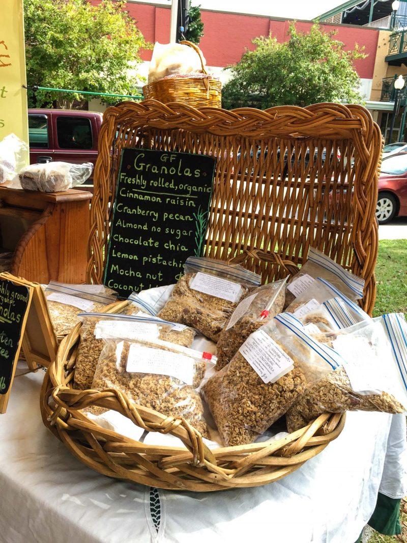 gluten free granola at outdoor market