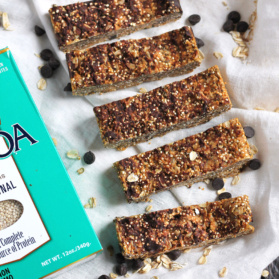 row of quinoa granola bars