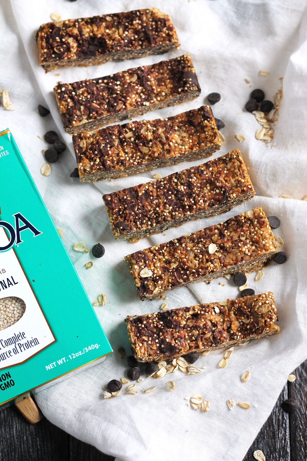 row on quinoa granola bars with box of quinoa