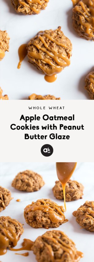 collage of apple oatmeal cookies with peanut butter glaze