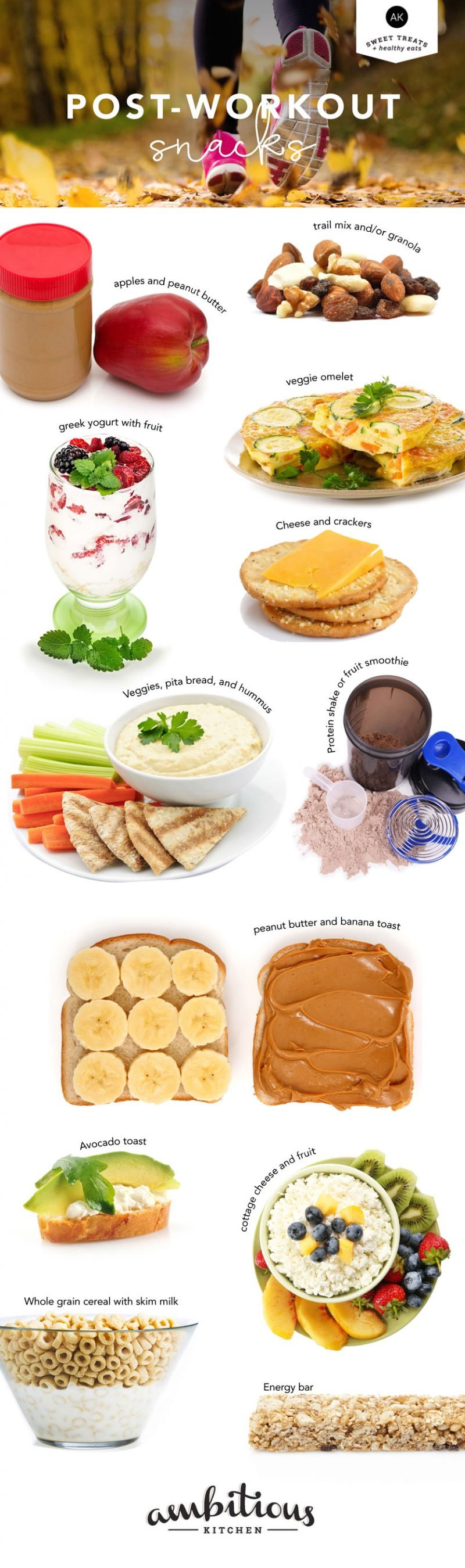collage of healthy post workout snacks