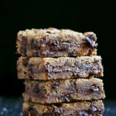 brown butter blondies in a stack