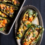 Stuffed Poblano Peppers with Black Bean, Corn & Sweet Potato