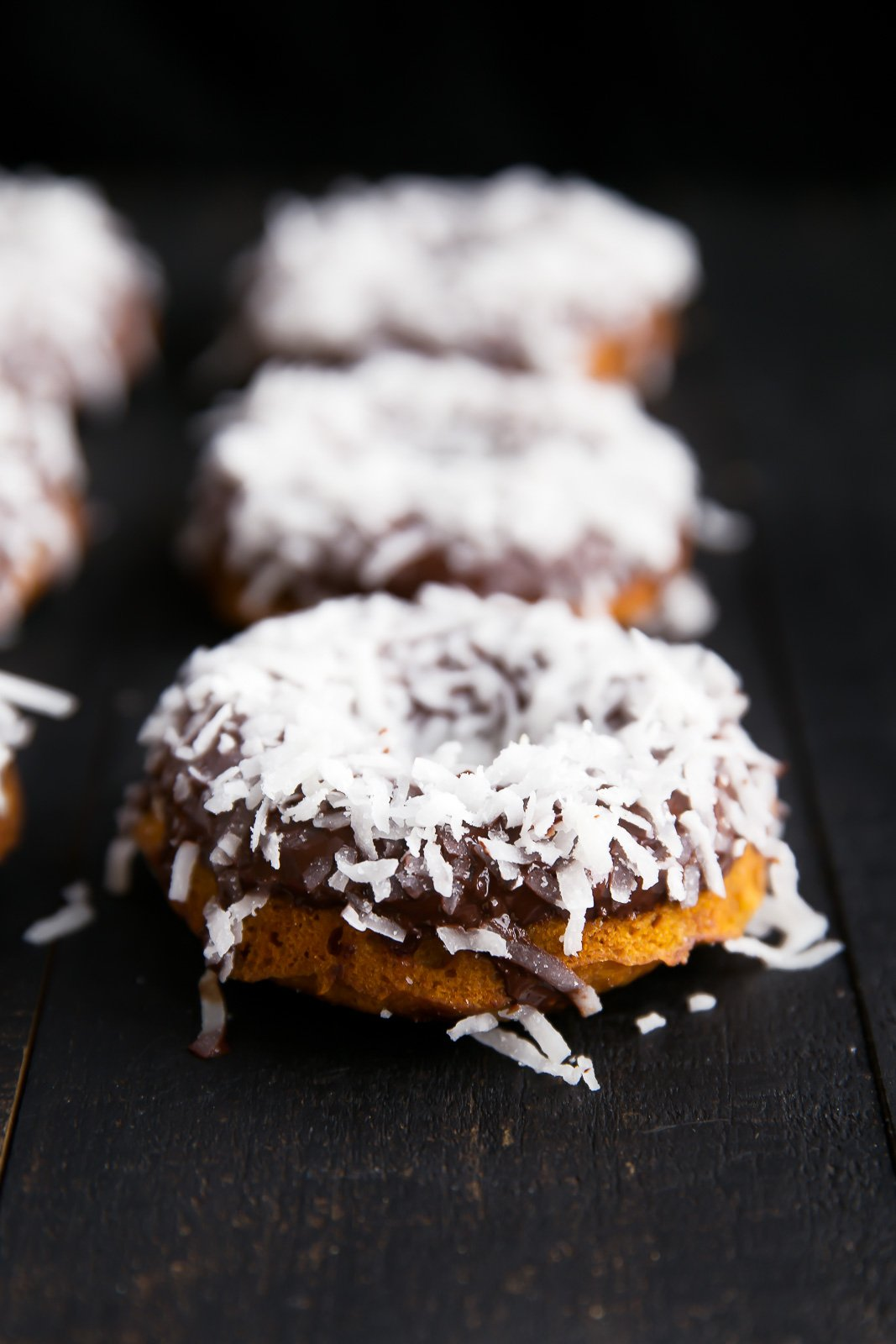 Sweet Potato Donuts with Dark Chocolate and coconut