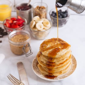 healthy pancake bar with toppings