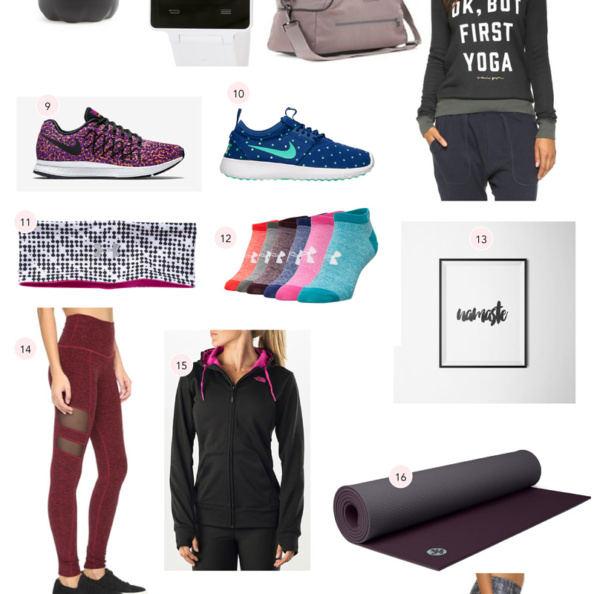 collage of gifts for the fitness lover