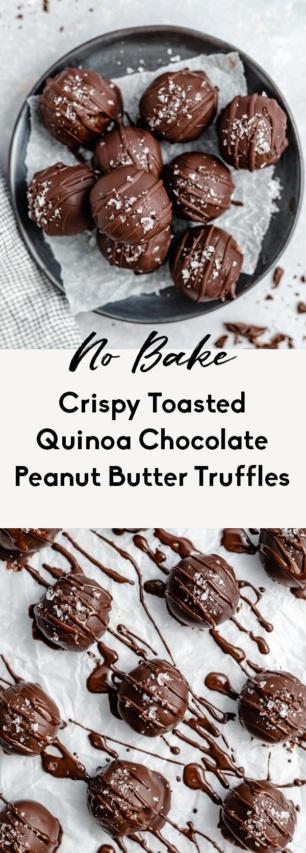 collage of quinoa peanut butter truffles