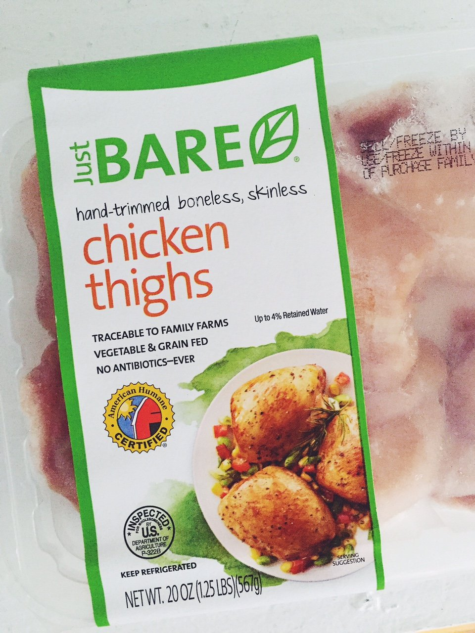 package of just bare chicken thighs