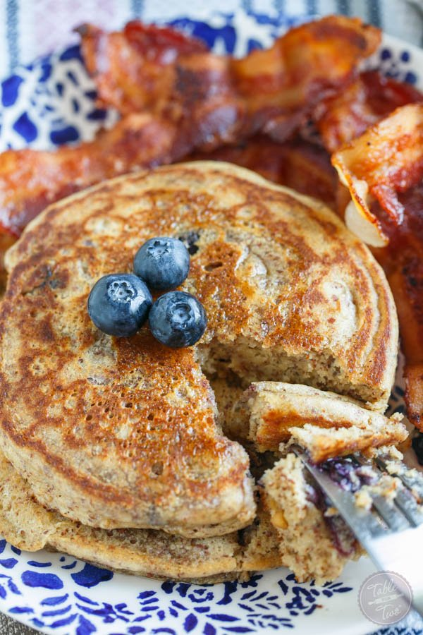 Blueberry Peanut Butter Pancakes from Table for Two