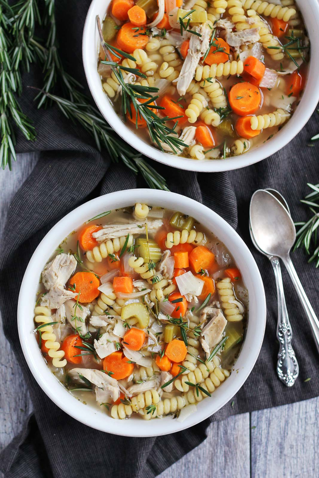 Healthy & Comforting Chicken noodle soup in two bowls