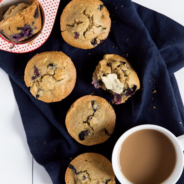 Healthy blueberry oatmeal muffins that you can feel good about eating! Made with a mix of almond and oat flour. Dairy free, gluten free. ambitiouskitchen.com