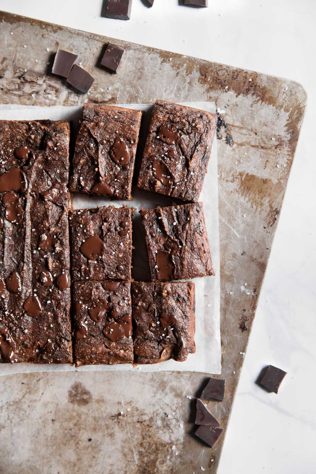 Chocolate banana bread bars on a baking sheet