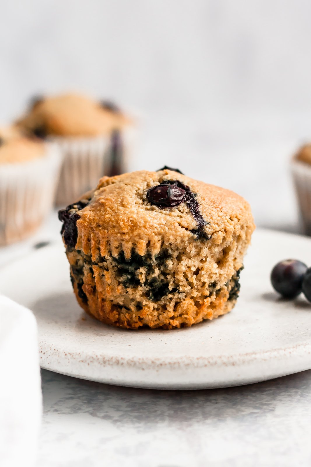 healthy blueberry muffin on a plate
