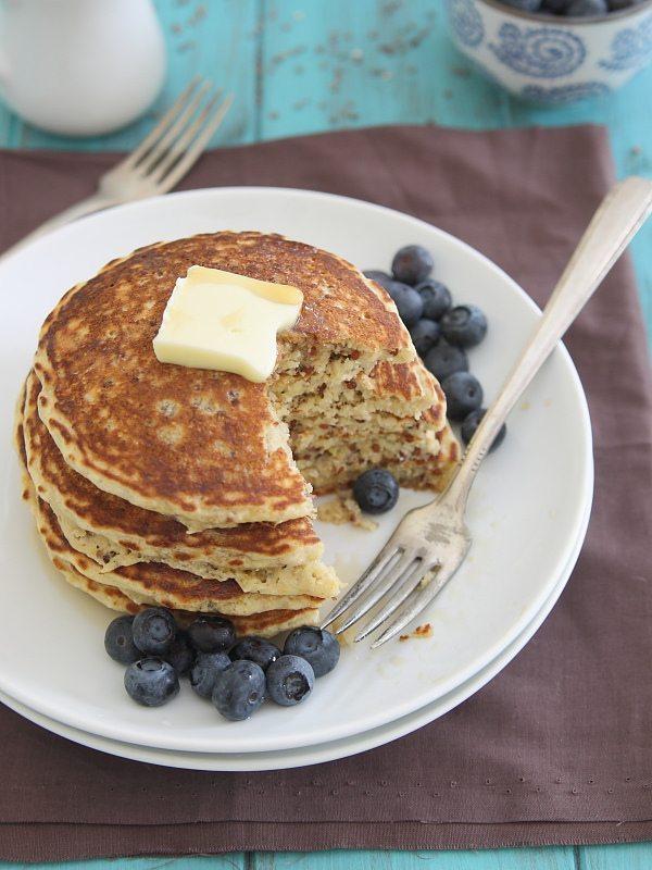 Meyer Lemon Quinoa Pancakes from Running to the Kitchen