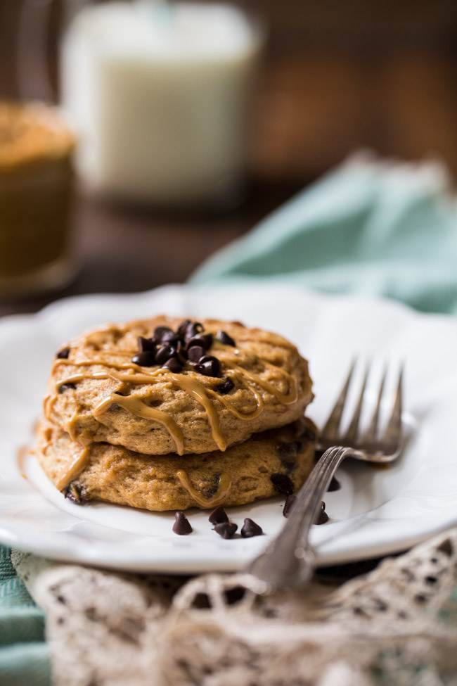 Microwave Chocolate Peanut Butter Protein Pancakes from Food Faith Fitness