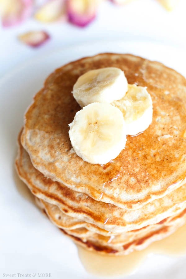 Oat and Honey Pancakes with Simple Honey Butter Syrup from Boys Ahoy