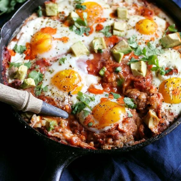 egg skillet bake with polenta and avocado
