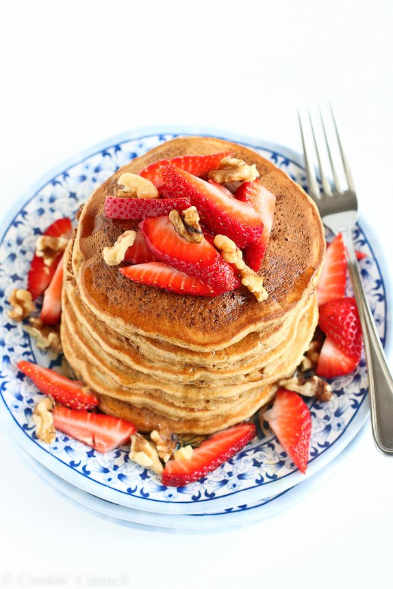 Whole Wheat Banana Flax Pancakes Recipe from Cookin' Canuck
