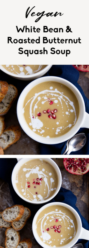 collage of vegan roasted butternut squash soup