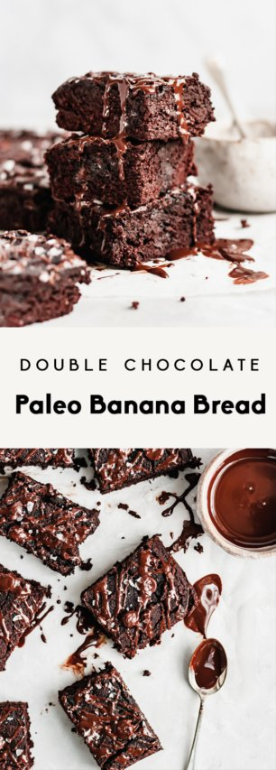 collage of double chocolate paleo banana bread with text overlay