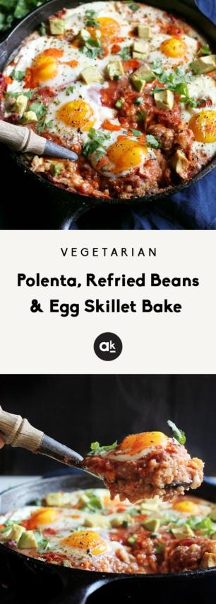 collage of egg skillet bake