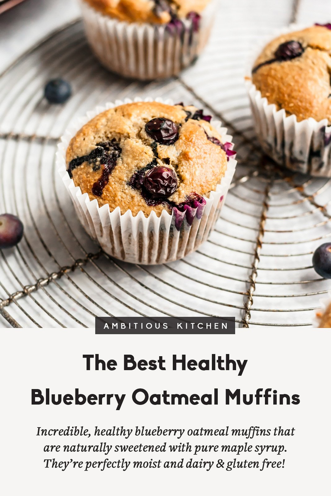 healthy blueberry muffins on a wire rack with text underneath