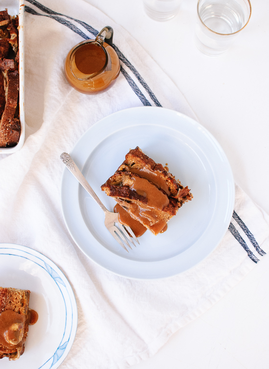 Banana Baked French Toasted with Peanut Butter Drizzle from Cookie and Kate