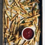 Healthy Baked French Fries with Garlic, Parmesan & Truffle Oil