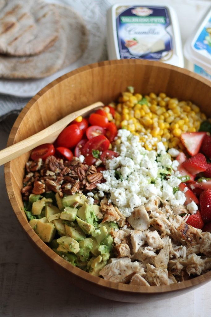 Chicken Chopped Salad with Strawberries, Avocado + Feta
