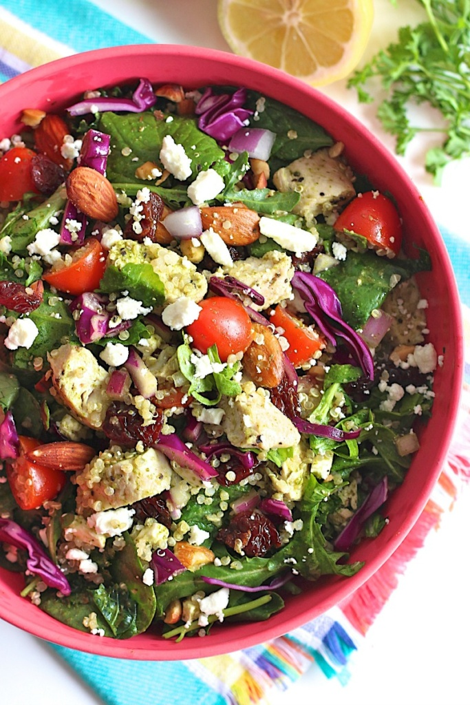 Chicken Quinoa Powerhouse Salad with Lemon Parsley Vinaigrette from The Baker Mama