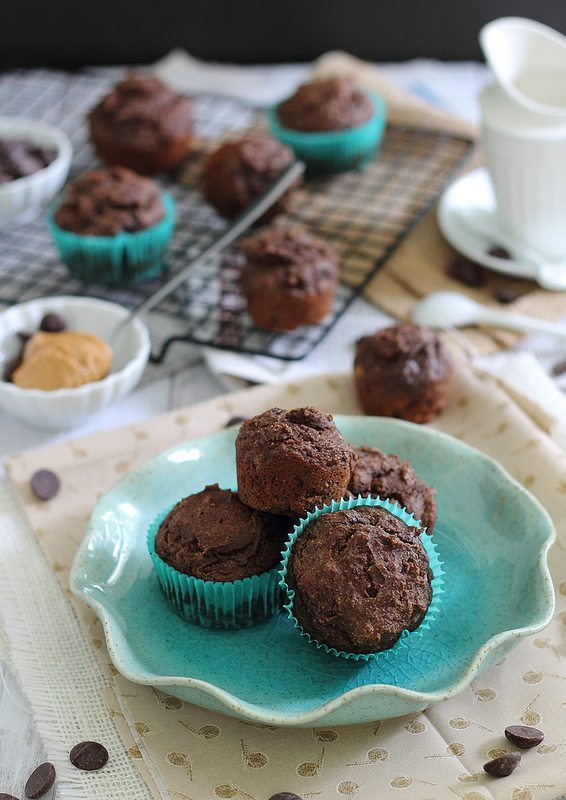 Chocolate Peanut Butter Muffins from Running to the Kitchen