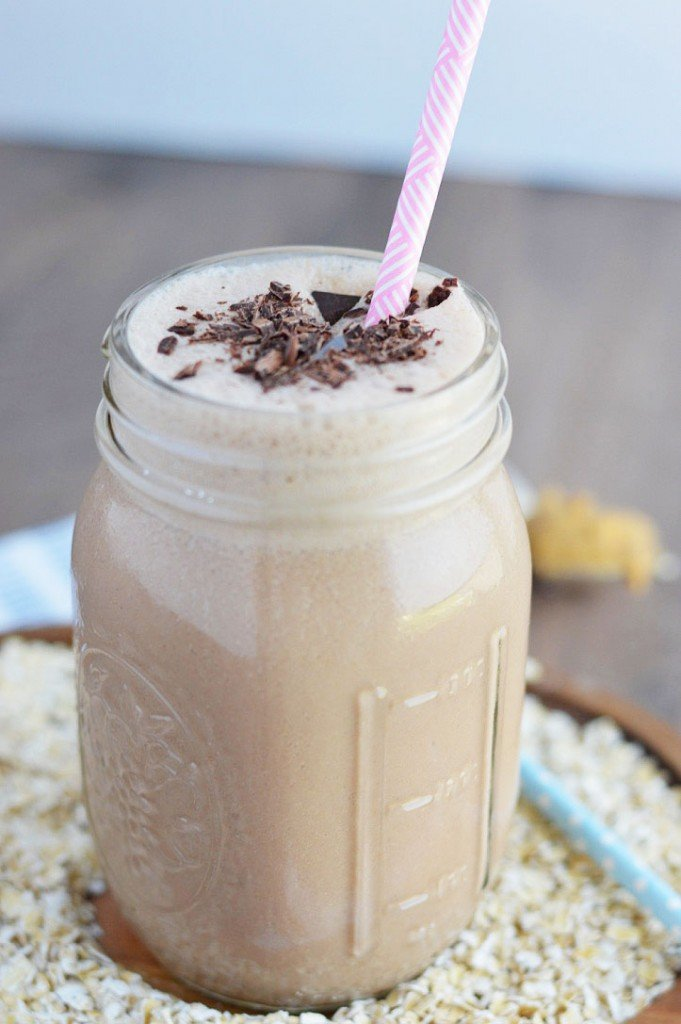 Chocolate Peanut Butter Oatmeal Smoothies from What the Fork