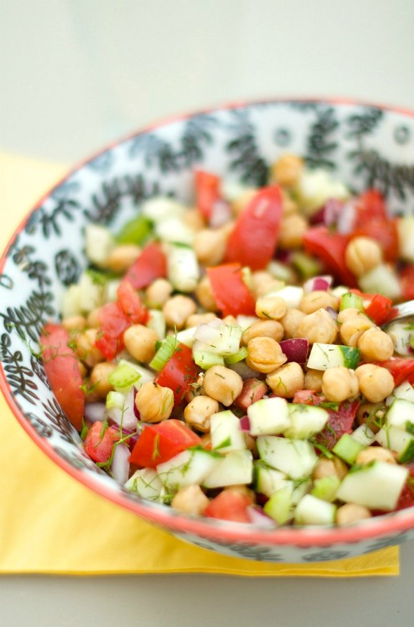 Cucumber and Chickpea Salad from Reluctant Entertainer