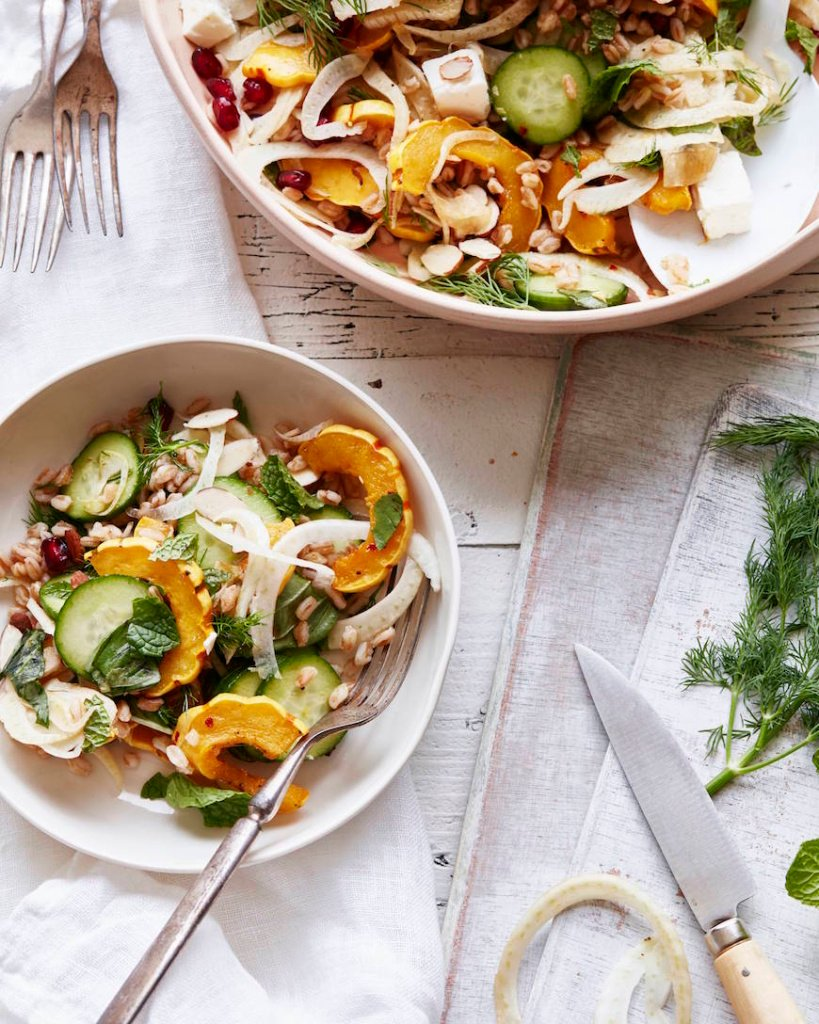 Farro Delicata Squash Salad from What's Gaby Cooking