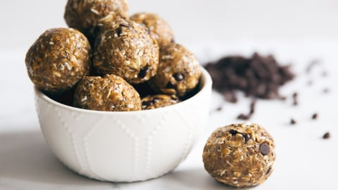 protein peanut butter energy bites in a bowl
