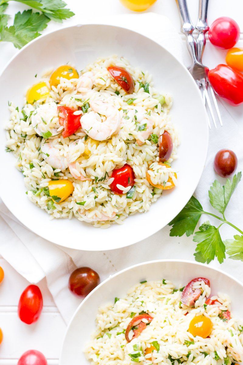 Lemon Orzo with Shrimp and Tomatoes from Back to Her Roots