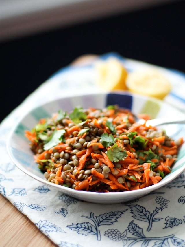 Lentil Salad with Carrots and Cilantro from Aggie's Kitchen