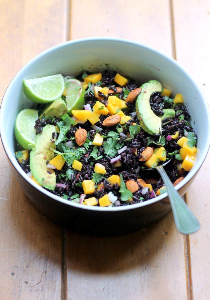 Mango & Avocado Black Rice Salad with Cilantro-Lime Vinaigrette