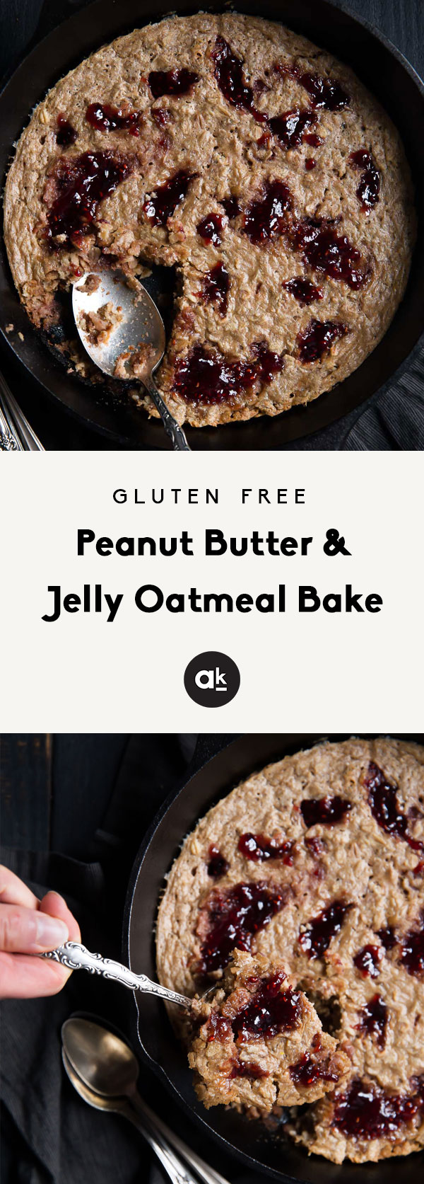 Easy to make peanut butter and jelly oatmeal bake that's naturally gluten free and dairy free. The perfect way to enjoy a childhood favorite for breakfast. Over 8g protein per serving. Great for meal prep!