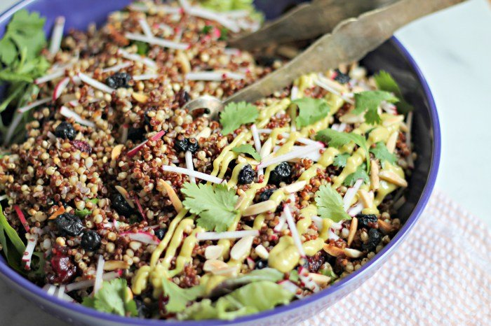Spiced Grain Salad with Avocado Raspberry-Chipotle Dressing from Cooking with Books