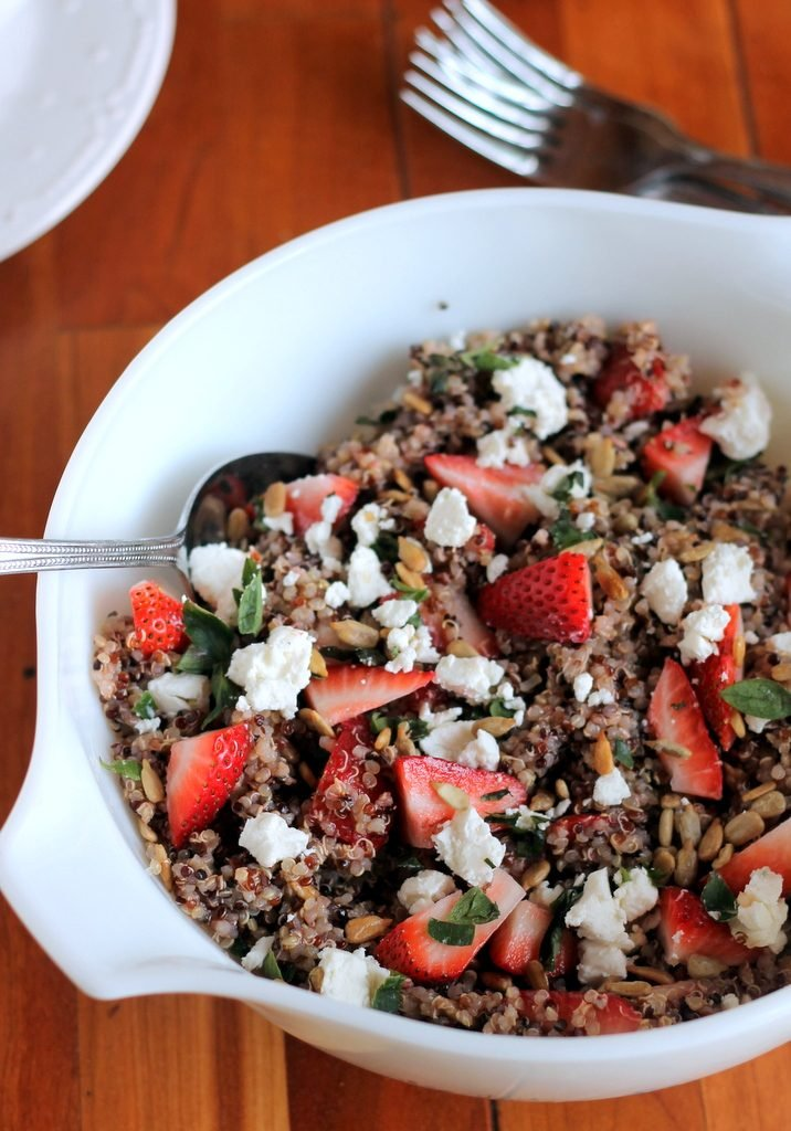 Strawberry Basil Quinoa Salad with Goat Cheese, Sunflower Seeds & Lemon Vinaigrette