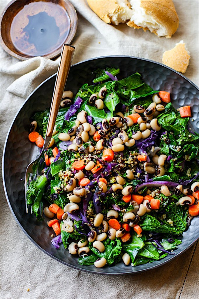 Vegan Rainbow Power Greens Salad With Black Eyed Peas From Cotter Crunch
