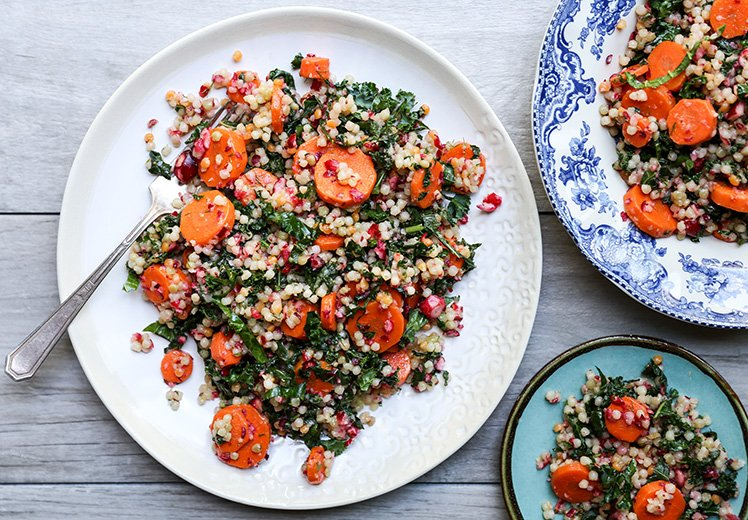 Wilted Kale and Couscous Salad with Carrots and Cranberries from Floating Kitchen