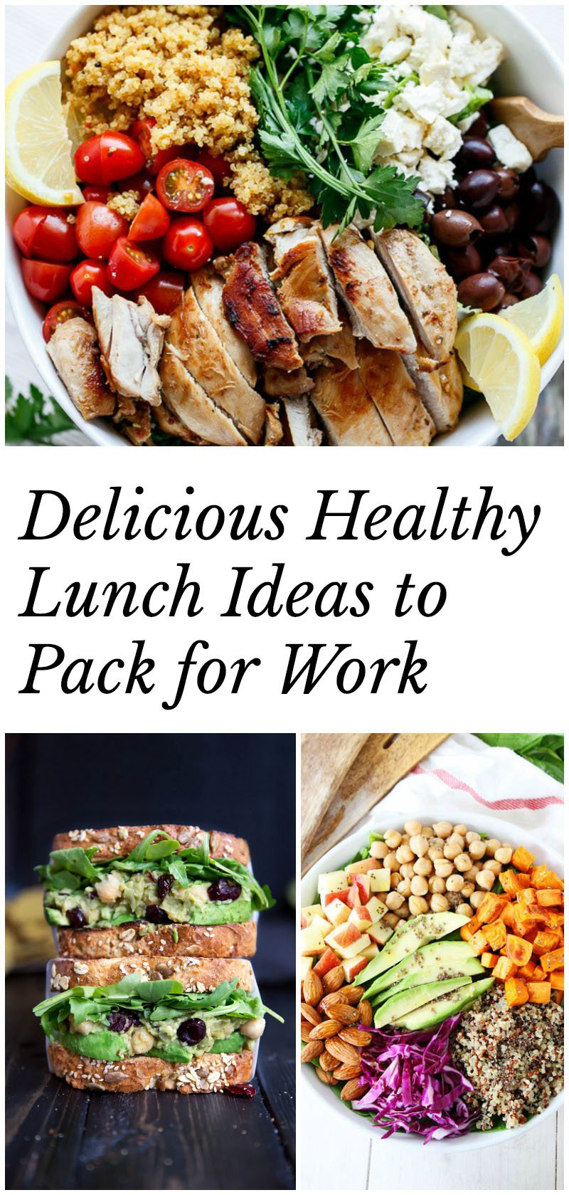 Delicious healthy lunch ideas to pack for work -- lots of salads & sandwich options to keep you motivated to eat healthy.