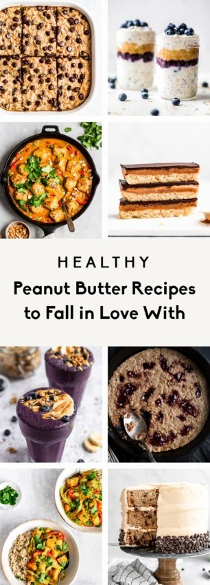 collage of healthy peanut butter recipes