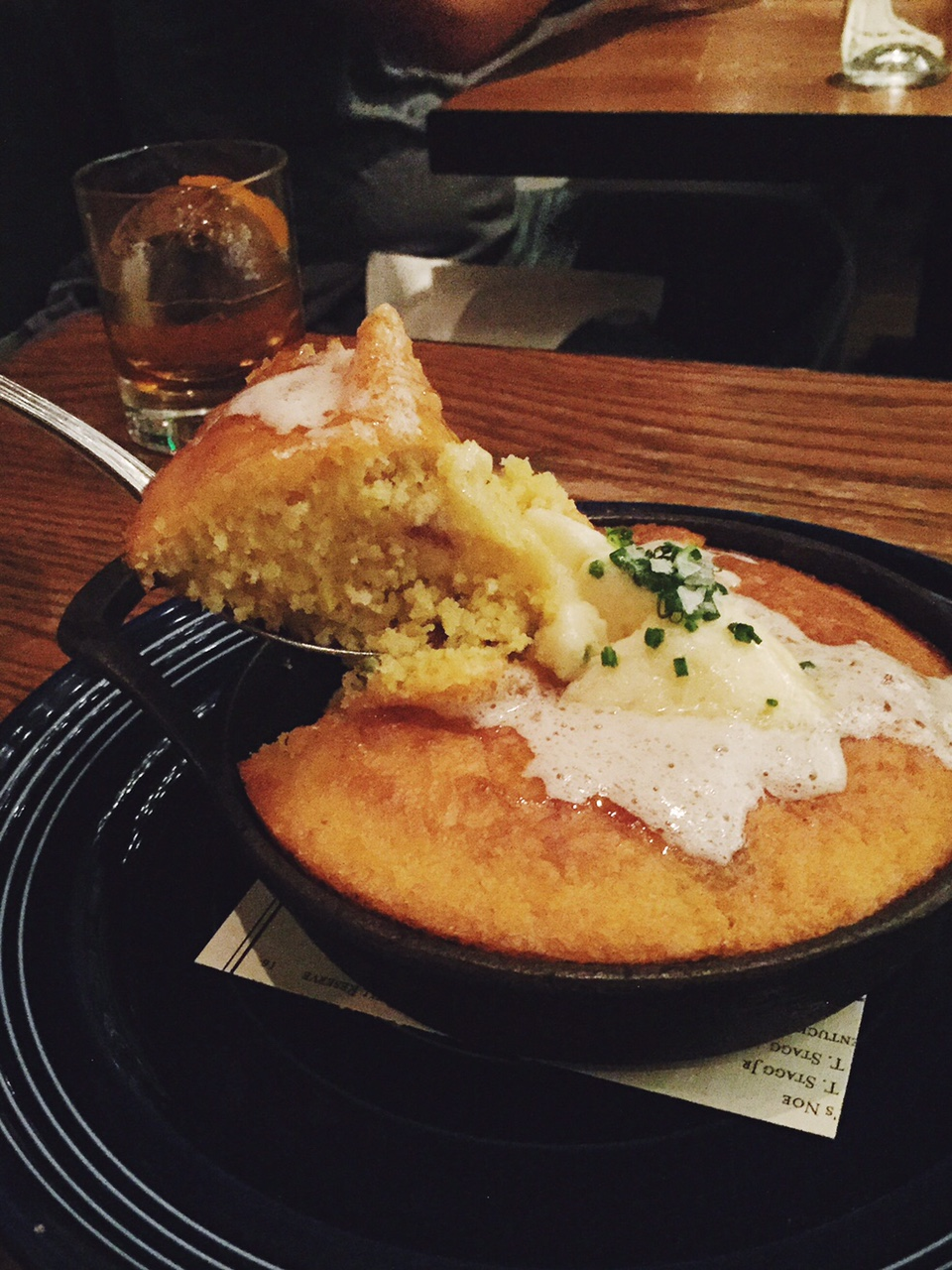 cornbread in a skillet with butter