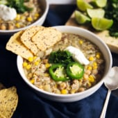 Slow cooker salsa verde chicken chickpea chili