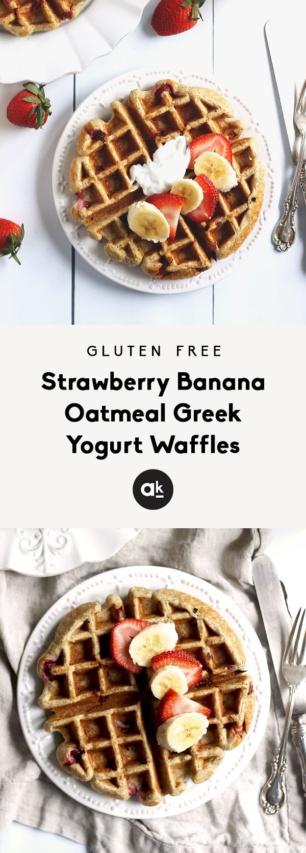 collage of greek yogurt waffles