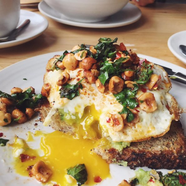 avocado egg toast with hazelnuts